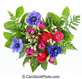 colorful flowers bouquet in heart shape