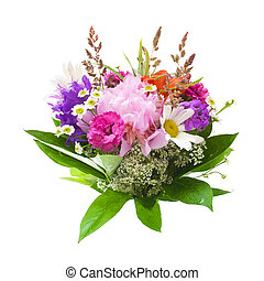 Colorful flowers bouquet isolated on white background. vector illustration