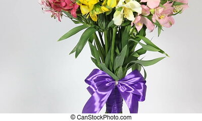 colorful flowers bouquet of alstroemeria. bottom to top...