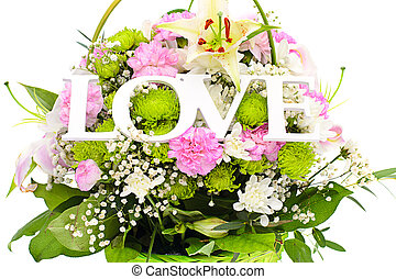 Colorful Flowers Bouquet with LOVE Word