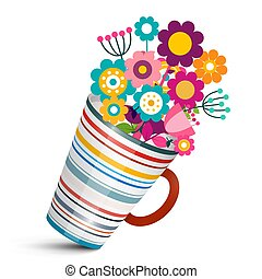 Colorful Flowers in Cup. Vector Illustration.