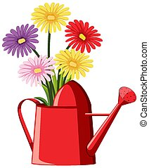 Colorful flowers in red watering can