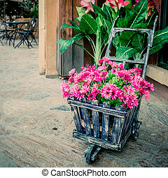 colorful flowers in the wheelbarrow