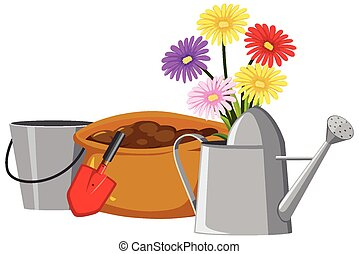 Colorful flowers in watering can on white background