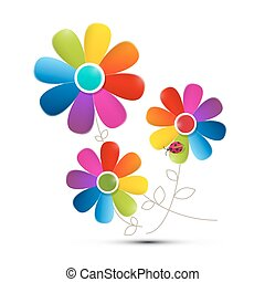 Colorful Flowers Isolated on White Background. Vector.