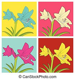 Colorful flowers of Hippeastrum. Vector illustration. -...