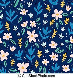 Colorful flowers on deep blue background seamless pattern