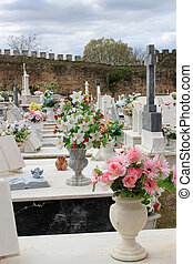 Colorful flowers on graves