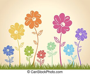 Colorful flowers on the grass. Vector background. Green yellow b