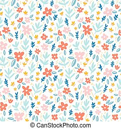 Colorful flowers on white background seamless pattern