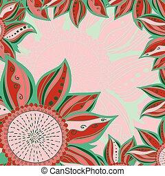 Colorful flowers pattern background. Floral frame. Vector illustration.