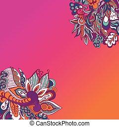 Colorful flowers pattern background. Floral frame. Vector illustration