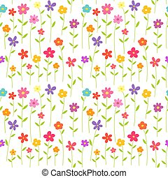 Colorful flowers seamless pattern background.