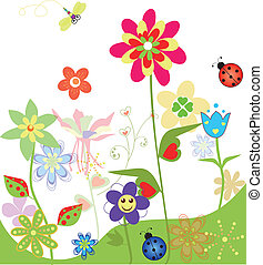 Colorful flowers set of spring illustrations