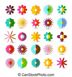 Colorful Flowers Set. Vector Flower Symbol Isolated on White Background.