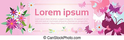 Colorful Flowers Spring Banner Abstract Background