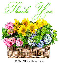 colorful flowers. thank you. card concept