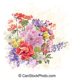 Colorful Flowers Watercolor - Digital Watercolor Painting of...
