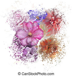 Colorful Flowers Watercolor