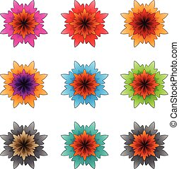 Colorful Flowers with Dark Outlines Vector Illustration