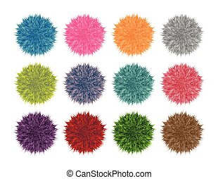 Colorful fluffy pompom set isolated on white background