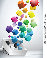 Colorful Flying Cubes Background - Vector - Colorful Flying...