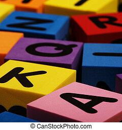 Colorful foam letter blocks