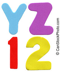 Colorful foam letters and numbers