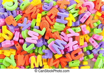Colorful foam letters