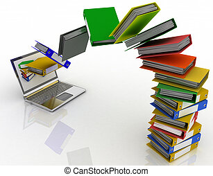folders fly into your laptop - Colorful folders fly into ...