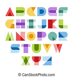 Colorful font - Design elements. Vector illustration of...