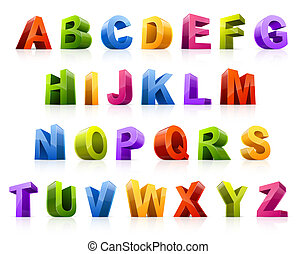 Colorful font - Design elements. Vector illustration of...
