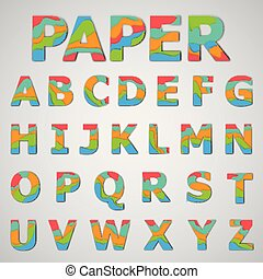 Colorful font set, vector illustration