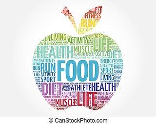 Colorful FOOD apple word cloud