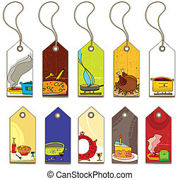 Colorful food tags.
