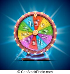 Colorful fortune wheel. isolated on blue background.