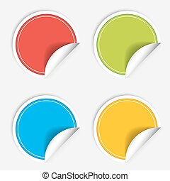 Colorful four blank stickers set. Badge collection. Vector illustration.