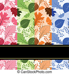 Colorful four season leaves seamless pattern