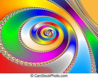 Colorful fractal backdrop - Digital visualization of a ...