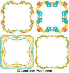 Colorful frame collection with stars and dots