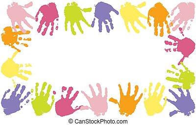 Colorful frame of prints of kids palms of hands, vector illustration.