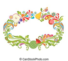 Colorful frame with fruits