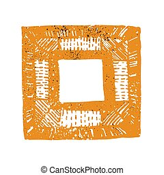 Colorful frame with grunge texture on white