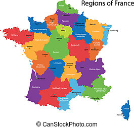 France map - Colorful France map with regions and main ...