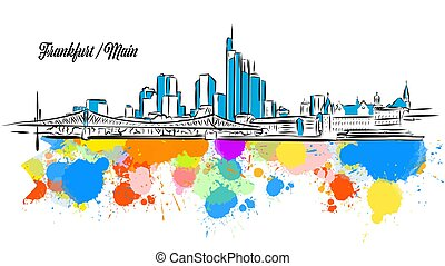 Colorful Frankfurt Main Cityscape Banner