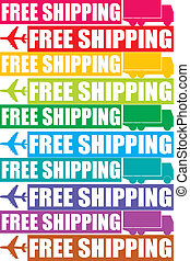 colorful free shipping tag