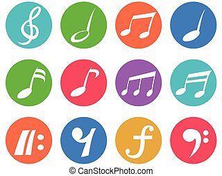 colorful freehead music note icon buttons set