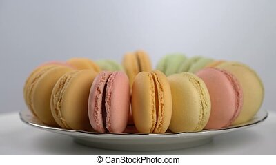 colorful French macarons, gourmet dessert, seamless loopable
