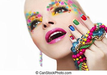 Colorful French manicure and makeup