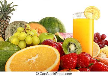 Colorful fresh Fruits and juice isolated on white background